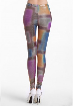 Shiny Neon Irregular Tie Dye Leggings