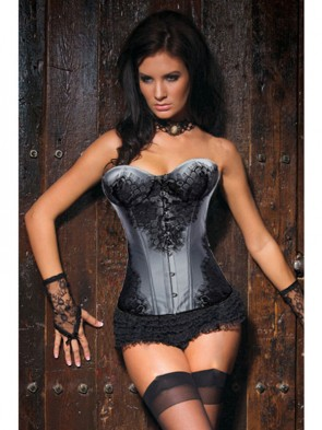 Classical Lace Overlay Corset Gray