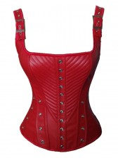 Vintage Red Faux Leather Buckles Straps Corset Bustier Christmas
