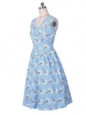 Women's 1950's Vintage V-neck Blue Casual Party Cocktail Dress