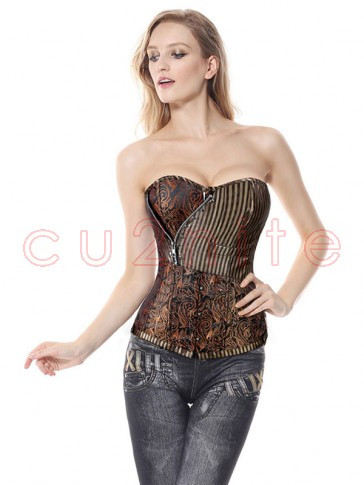 Brocade Steampunk Corset With Zip