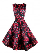 1950's Vintage Retro Black and Red Rose Floral Print Party Cocktail Tea Dress