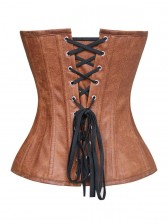 Fashion Punk Style Brown PU Zipper Overbust Corset