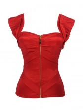 Burlesque Satin Tank Shoulder Strap Folds Body Shaper Corset