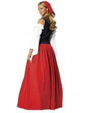 Red Long Skirt Oktoberfest Beer Wench Costume