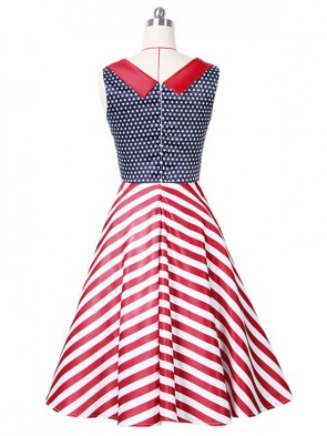 Women's 1950's Vintage V-Neck Stripe Cocktail Party Dress
