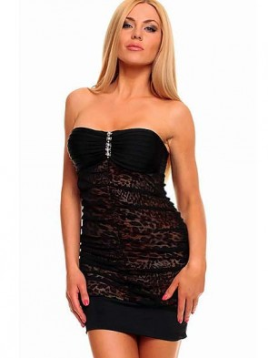 Black Bandeau Club Party Mini Dress with Animalistic Touch