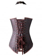 Fashion Noble Brown Halter Jacquard Steel Boned Outerwear Corset