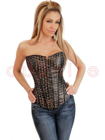 Stamped Leather Skulls Corset