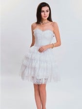 Victorian Elegant Sweetheart Neck Strapless Lace Overlay A-line Corset Dresses White