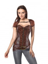 Brocade & Faux Leather Shrug & Belt Corset
