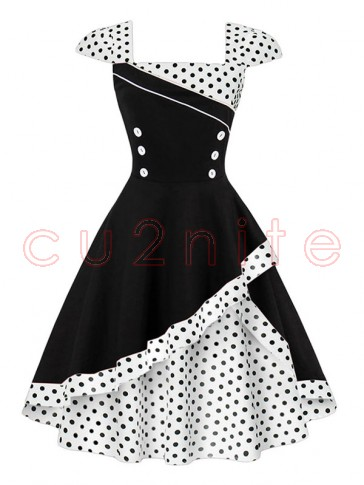 1960's Vintage Style Polka Dot Print Cocktail Party Dress