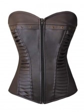 Retro Steampunk Brown Faux Leather Zipper Corset