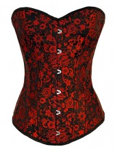 Red Flower Brocade Burlesque Corset