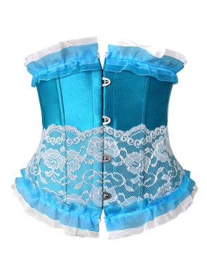 Fashion Sexy Blue Artificial Silk Lace Ruffles Underbust Corset