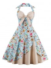 Vintage Sweetheart Floral Print Halter Cocktail Party Bridesmaid Dress