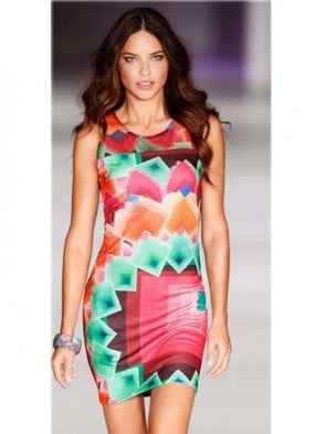 Popular Colorful Irregular Pattern Sleeveless Bandage Dress