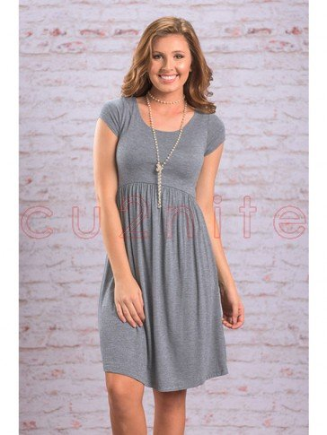 Women's Round Neck Short Sleeve Pleated Midi Dress Gray