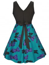 Women's Vintage Sleeveless Floral Swing Dress With Belt Green