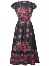 Graceful Cap Flounce Sleeves Floral Print Pleats Summer Beach Maxi Dress