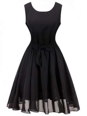 Elegant Black Sleeveless Chiffon Cocktail Party Dress