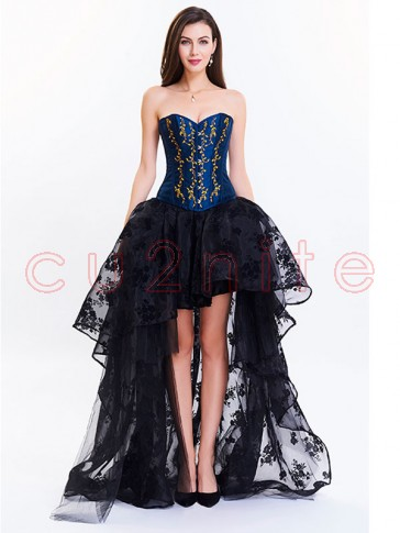 Women's Victorian 14 Steel Boned Embroidery Overbust Corset High-low Organza Skirt Set Black Blue