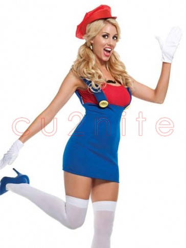 Super Mario Bros Red Plumber Womens Costume