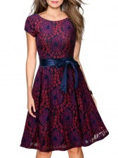 Vintage Floral Lace Short Sleeve Evening Party Swing Dress Red
