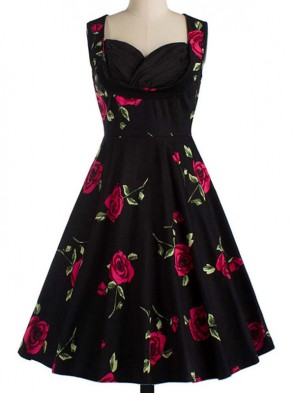 Women's 1950's Vintage Floral Cut Out Sweetheart Neck Casual Party Cocktail Dress Black Red