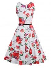 Elegant 1950's Vintage Floral Print Sleeveless Casual Cocktail Party Swing Dress