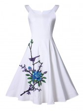 Elegant Vintage White Embroidery Floral Print Dress