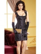 Classic Palace Style Black Square Neckline Overbust Corset