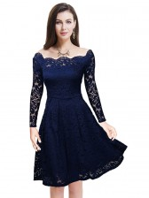 Vintage Off Shoulder Floral Lace Casual Party Dress Dark Blue