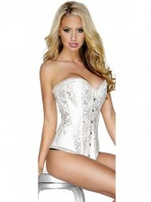 White Brocade Corset with Modesty Panel