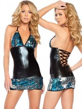 SALE! Sequin Halter Mini Dress - Black /Blue