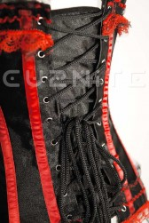 Black and Red Satin Burlesque Corset with Modesty Panel