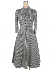 1960's Vintage Plaid Knee Length Tea Dress Black White