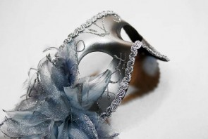 Silver Venetian Masquerade Mask with Side Flower