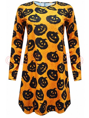 Women 's Halloween Pumpkin Spider Net Print Long Sleeve Dress