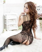 Black Flower Crotchless Fishnet Bodystocking