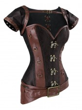 Steampunk Steel Bone Overbust Corset with Jacket & Belt