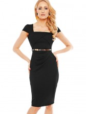Women's Fashion Square Neck Cap Sleeve High Waist Bodycon Dress
