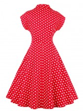 Women's Vintage Red Polka Dot Short Sleeves A-line Evening Club Party Swing Cocktail Dress