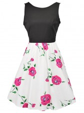 Women's Vintage Sleeveless Floral Swing Dress With Belt White