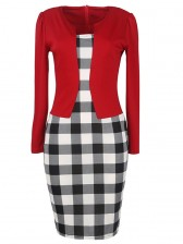Vintage Office Lady 3/4 Sleeve One-Piece Patchwork Bodycon Christmas Dress with Belt