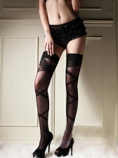 Black Criss Cross Thigh High Stocking