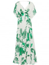 Sexy Short Sleeves Floral Print Pleated Summer Beach Maxi Dress