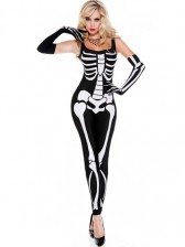 Women Sexy Skeleton Jumpsuit Costume