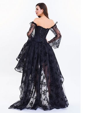 Women's Fashion Plastic Boned Black Overbust Long Floral Lace Sleeve Corset Organza Skirt Set