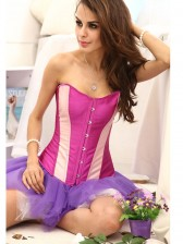 Classic Purple Corset With Pink Stripe